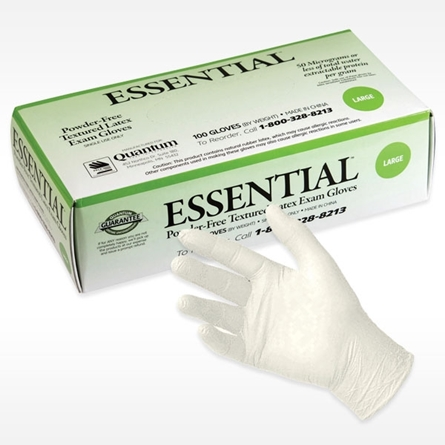 box of ESSENTIAL TEXTURED GRIP Latex Exam Glove
