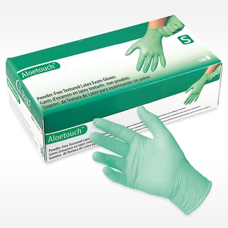box with green ALOETOUCH® PROFESSIONAL Latex Exam Glove