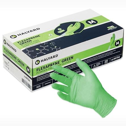 box of  HALYARD FLEXAPRENE GREEN Neoprene Chloroprene Exam Glove