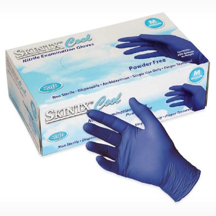 Box of SkinTx COOL BLUE Nitrile Exam Gloves
