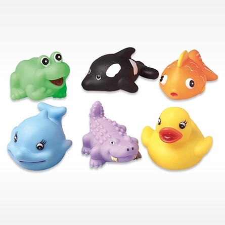 Animal Shaped Water Squirters in the shape of frog, whale, goldfish, orca, crocodile and rubber duckie