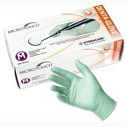 box of DENTA-GLOVE Latex HydraCare dental exam glove
