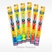 Assorted colors of Firefly toothbrush sold in individual blister packs wholesale bulk