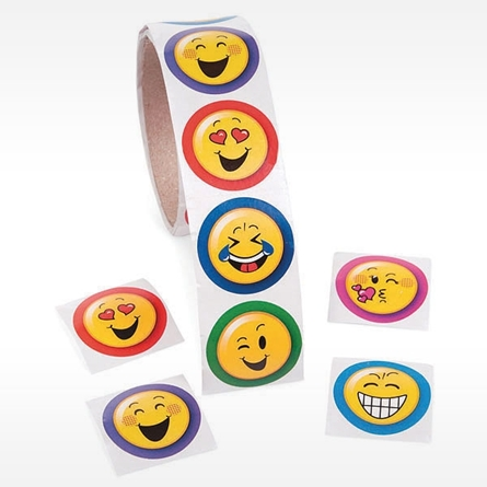 Emoji Sticker Roll of 100 count stickers Smiling Face With Heart-Eyes Face blowing kiss Winking Face Grinning Face Face With Tears Of Joy