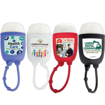 Iced Pear Travel Pocket Hand Sanitizer Gel 1 oz with silicone lanyard