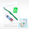 Value Kit Goodie Bag with Patient Take home premium toothbrush, floss and Crest toothpaste