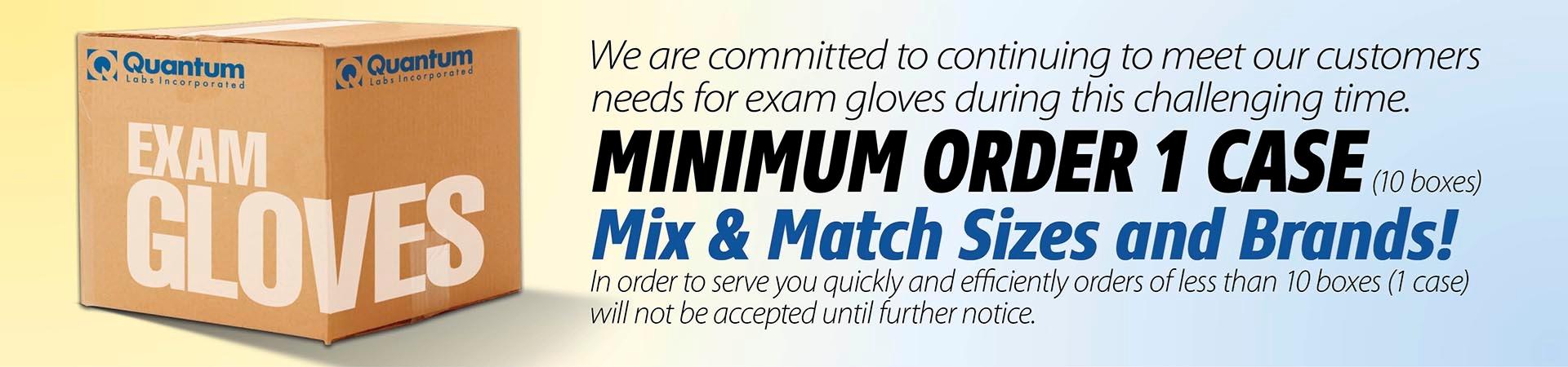 case minimum exam gloves