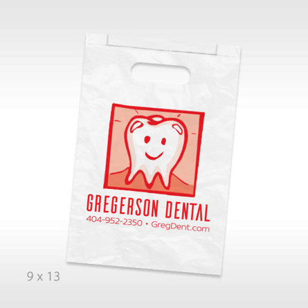 Large Custom Paper Supply Bag 9 X 13 x 2.5 in one color