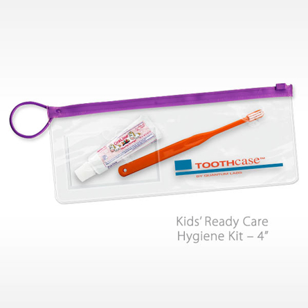 Kids Ready Care Dental Kit with Toothbrush Toothpaste in a reusable bag