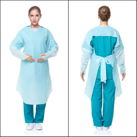 Blue Unipack CPE GOWN WITH THUMB LOOP 10 PACK