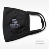 Script logo imprint on Black Fabric Reusable Mask with logo icon and text