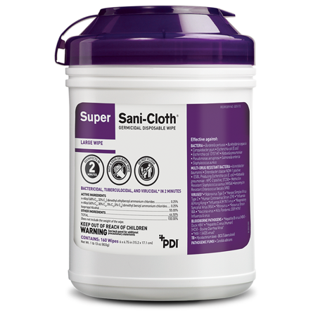 Sani Cloth Super Germicidal Wipes 160 Count Canister 6 x 6.75 inch